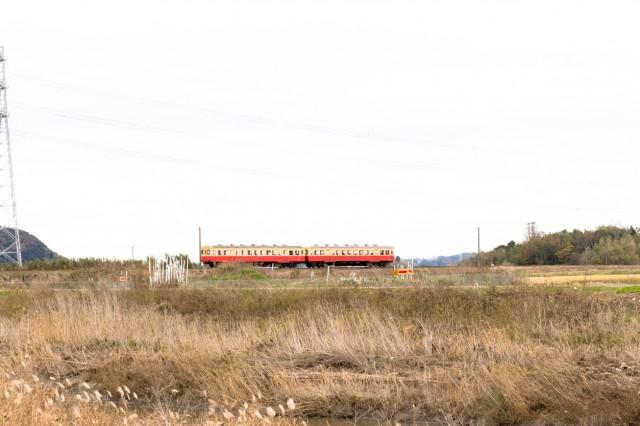 Local railroad running in the countryside of Chiba prefecture, Japan