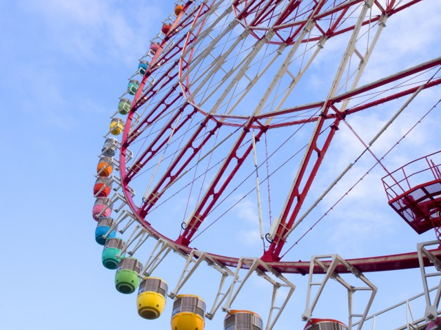 ferris wheel, colorful ferris wheel in Tokyo, Japan. fun concept