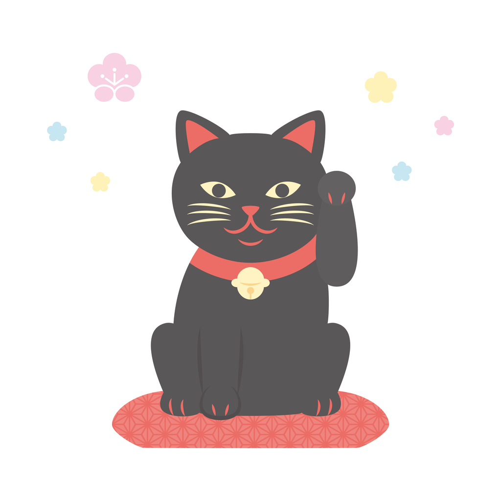 Japanese Maneki neko vector illustration