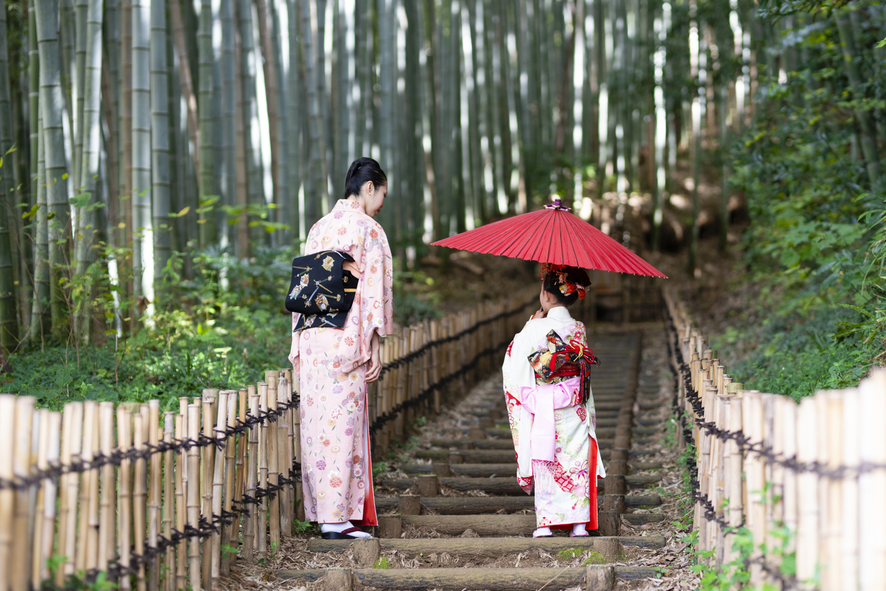Mother and daughter wearing kimono