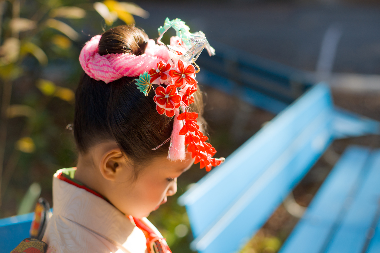 Japanese Girl wearing a kimono with hair ornaments