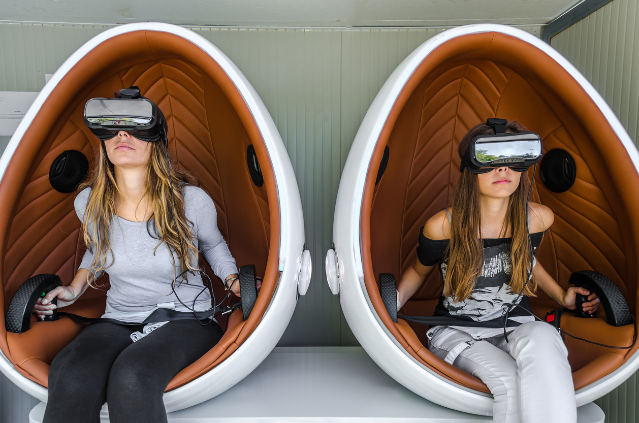 Happy family. Mother and her daughter using virtual reality glas