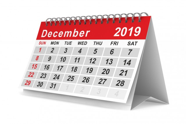 2019 year. Calendar for December. Isolated 3D illustration