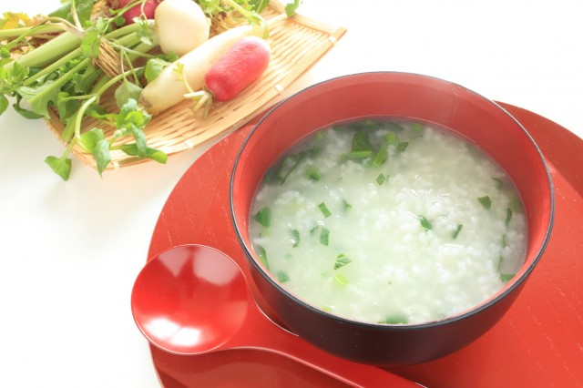 Japanese new year food, nanakusa congee